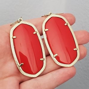 Kendra Scott Red Danielle Earrings Vintage Retired
